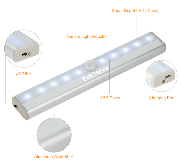 DotStone Compact LED Motion Sensor Lights Silver