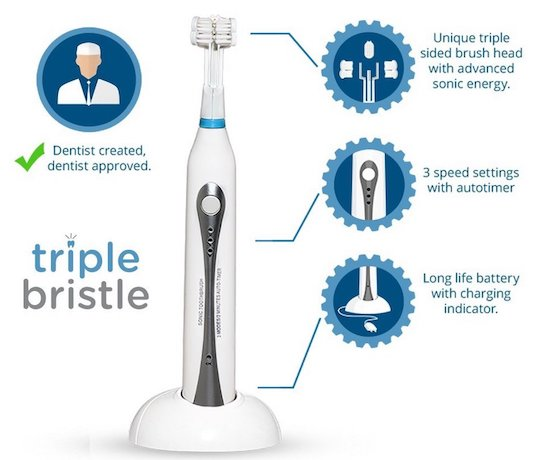First Three-Sided Toothbrush
