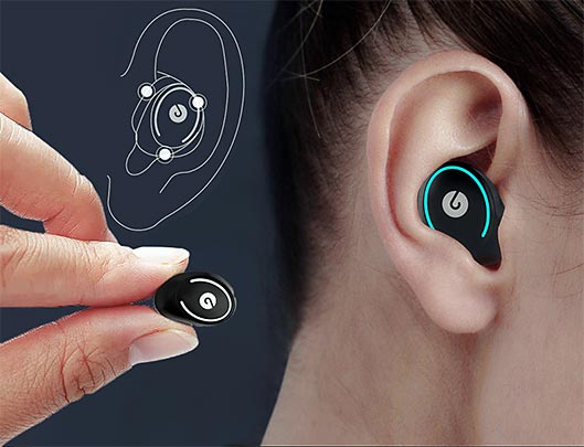 Truly Wireless Mini Earbuds in the ear