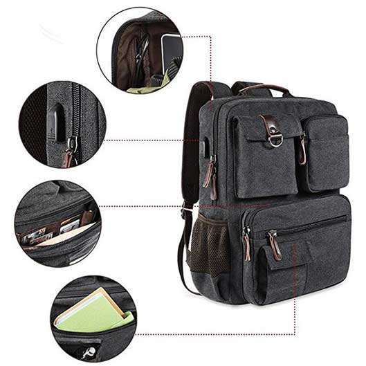 Functional Canvas Outdoor Bag Travel Backpack 4