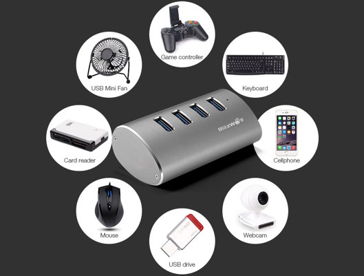 Portable High Speed 4-Port USB 3.0 Hub