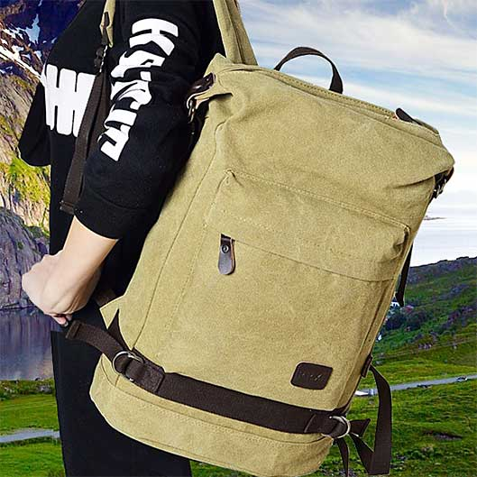 Solid Casual Bag Canvas Travel Backpack