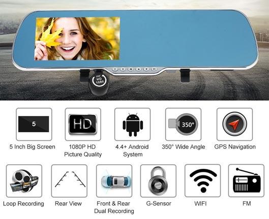 GPS Navigator Camera 5-Inch Smart Rearview Mirror