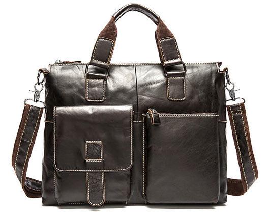 Men Genuine Leather Business Vintage Handbag