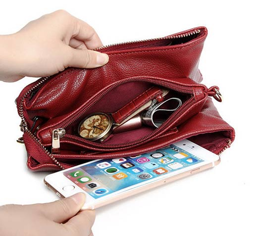 Three-layers Genuine Leather Pure Color Shoulder Bags Crossbody Bags Clutch Phone Bag