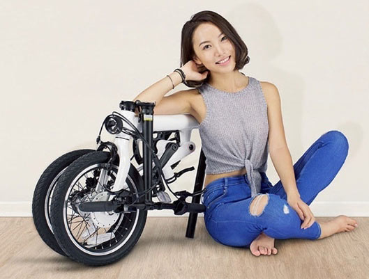 Xiaomi QiCYCLE - EF1 Folding Smart Bicycle, White Color