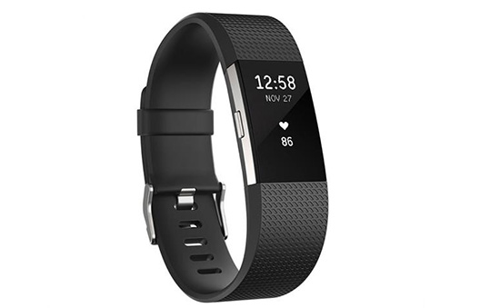 Fitbit Charge 2 Heart Rate + Fitness Tracker Wristband, Large, Black/Silver