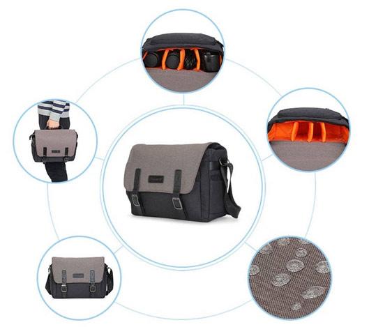 Water Resistant Camera Messenger Bag