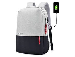 Men Minimalist Canvas Laptop Backpack Black