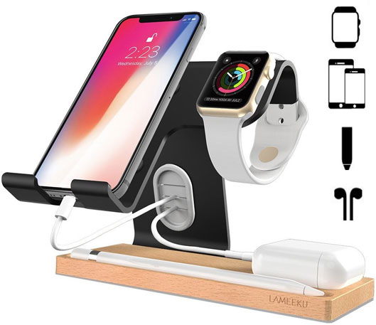 Phone and watch Wooden Charging Dock