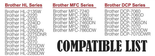 Cartridge Replacement for Brother printers, list