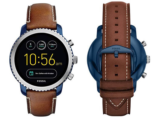 Fossil Round Smartwatch With Leather Strap
