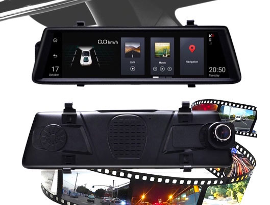 Functional Car DVR Mirror with Front and Back Cameras