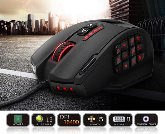 Rocketek Macro Programmable Gaming Mouse with RGB Backlight