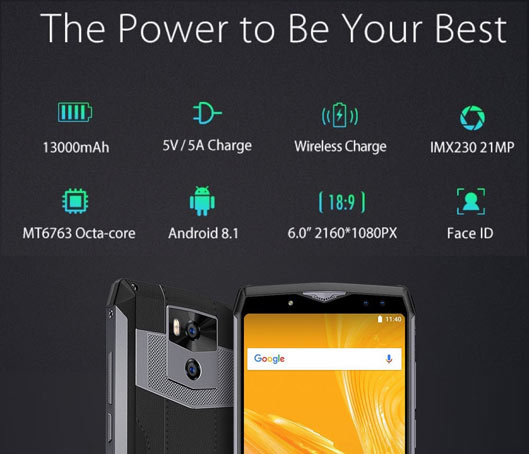 Ulefone Power 5 4G Phablet 6.0 inch 13000mAh battery