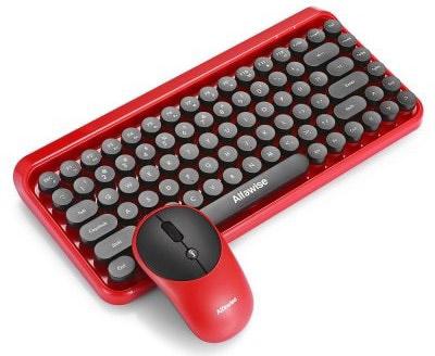 Alfawise Ergonomic Bluetooth Retro Keyboard Mouse Combo