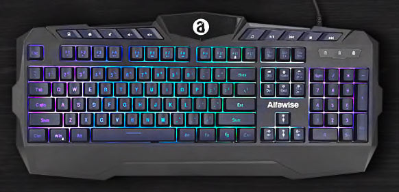 Alfawise RGB Membrane Keyboard Ergonomic Keyboard for Gamers