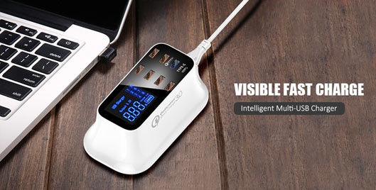 Multi-Port USB Charger with Digital Screen