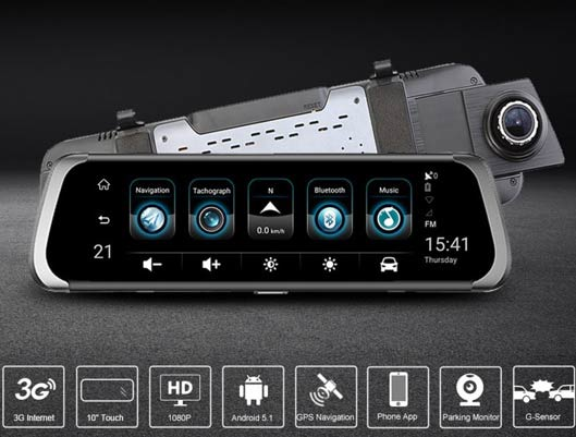 Touch Screen DVR Car Front and Rearview Mirror