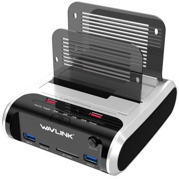Wavlink USB3.0 to SATA Dual-Bay HDD Enclosure Card Reader for 2.5/3.5-inch