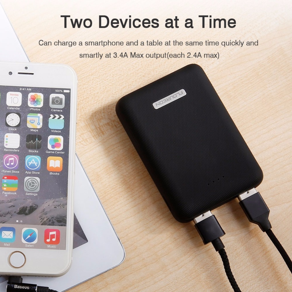 Floureon Super Mini 10000mAh Power Bank 3.4A Dual USB Charger