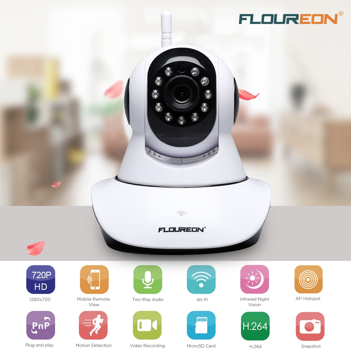 Floureon Indoor Wireless Pan or Tile CCTV WiFi Home Security IP Camera 720P