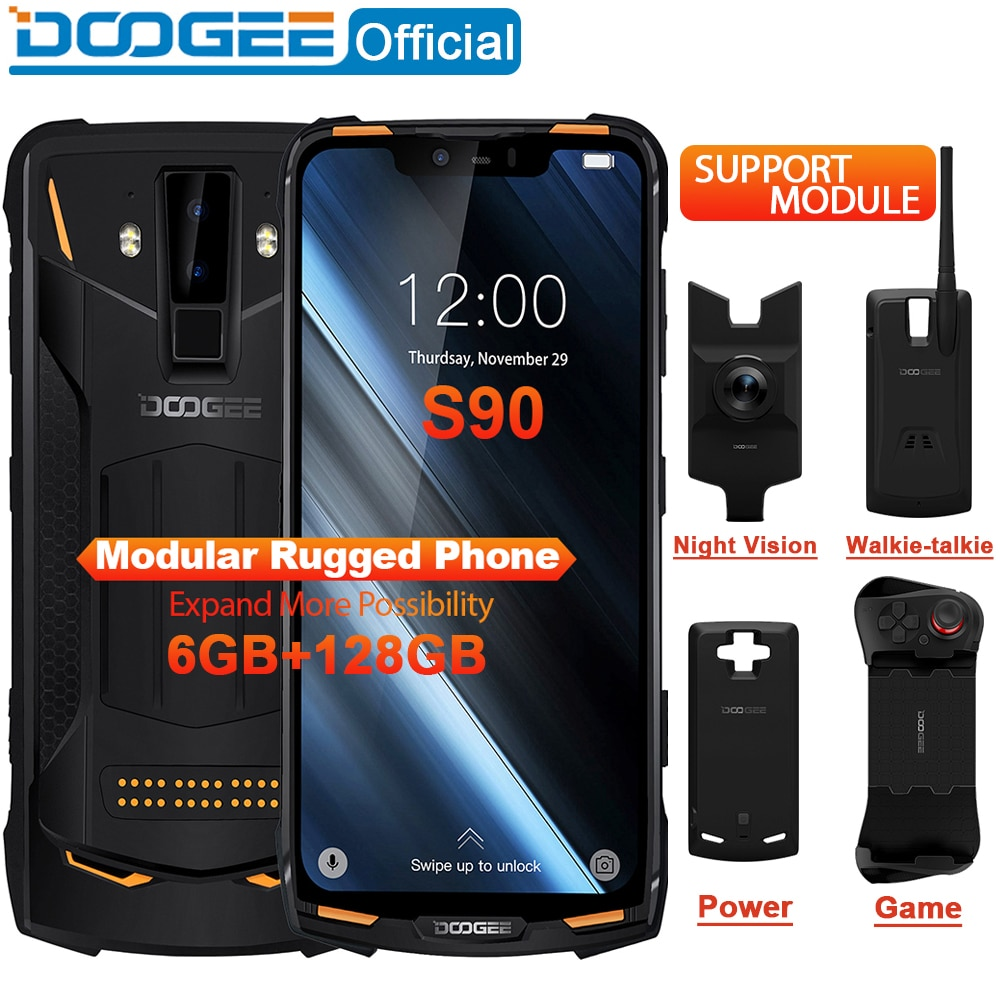 DOOGEE S90 Modular Rugged 6.18″ Smartphone 16.0MP Camera, 128GB Memory
