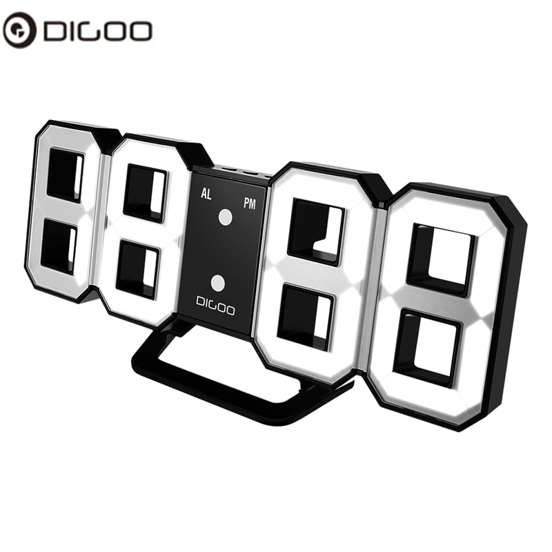 Digoo DC-K3 Large Wall Clock 3D LED Digital Alarm With Snooze Function