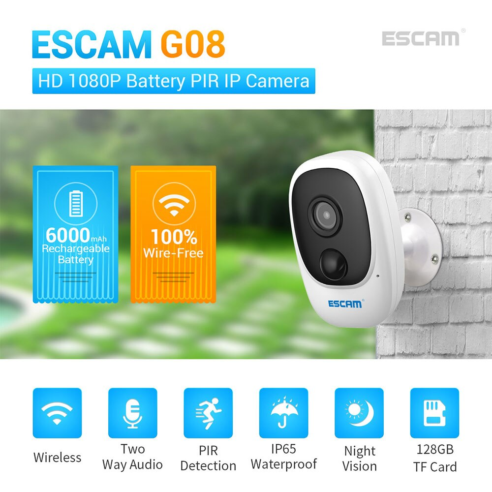 ESCAM G08 Solar Panel Camera Waterproof Outdoor or Indoor Camera