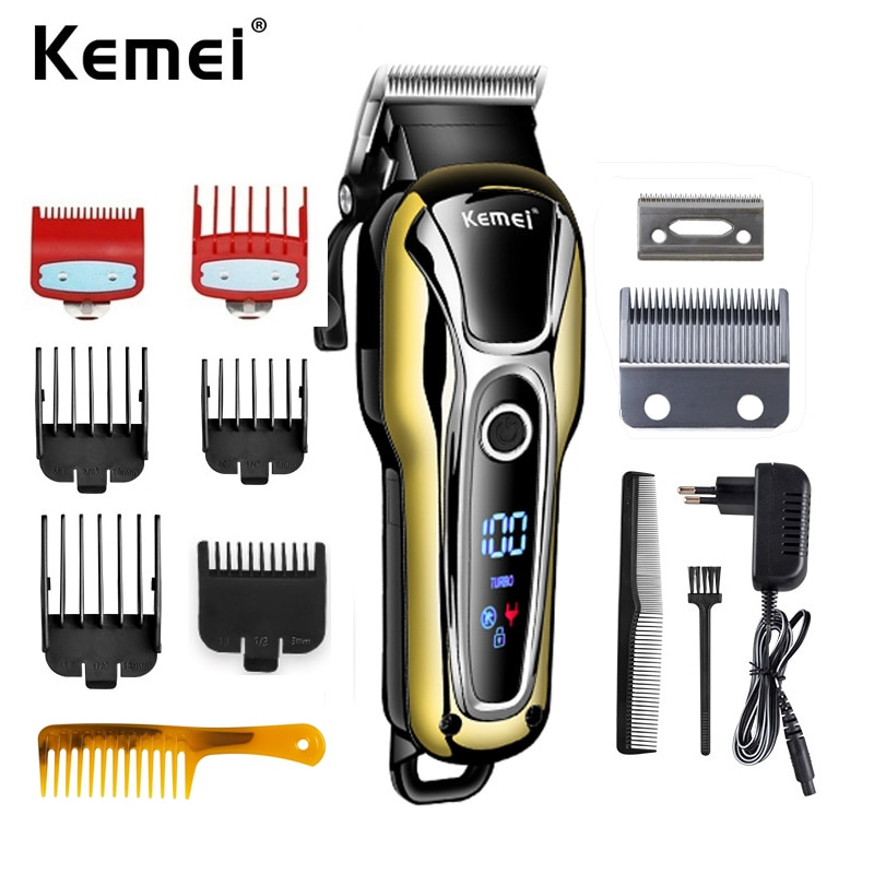 Kemei KM 1990 Hair Clipper Rechargeable Shaver Hair Cutting Machine With LCD Display