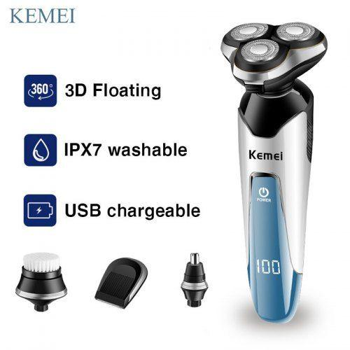 Kemei km-5390 Mens Waterproof Rechargeable 3D Floating Shaving Electric Shaver