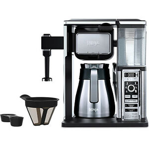 Ninja Coffee Bar CF097 Stainless Carafe Programmable Coffee Maker with 6 Brew Sizes Milk Frother