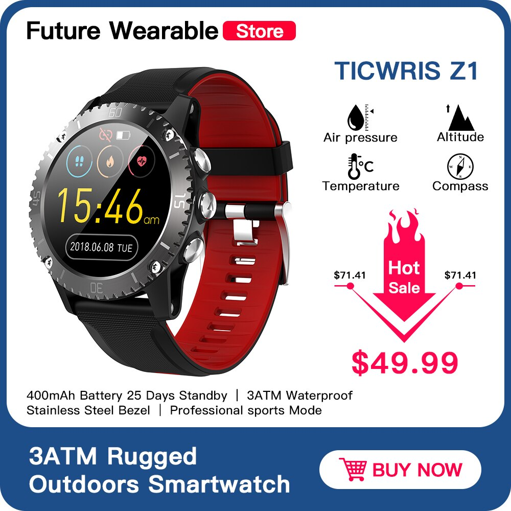 TICWRIS Z1 Rugged Outdoors Smartwatch Stainless steel 3ATM Waterproof Watch