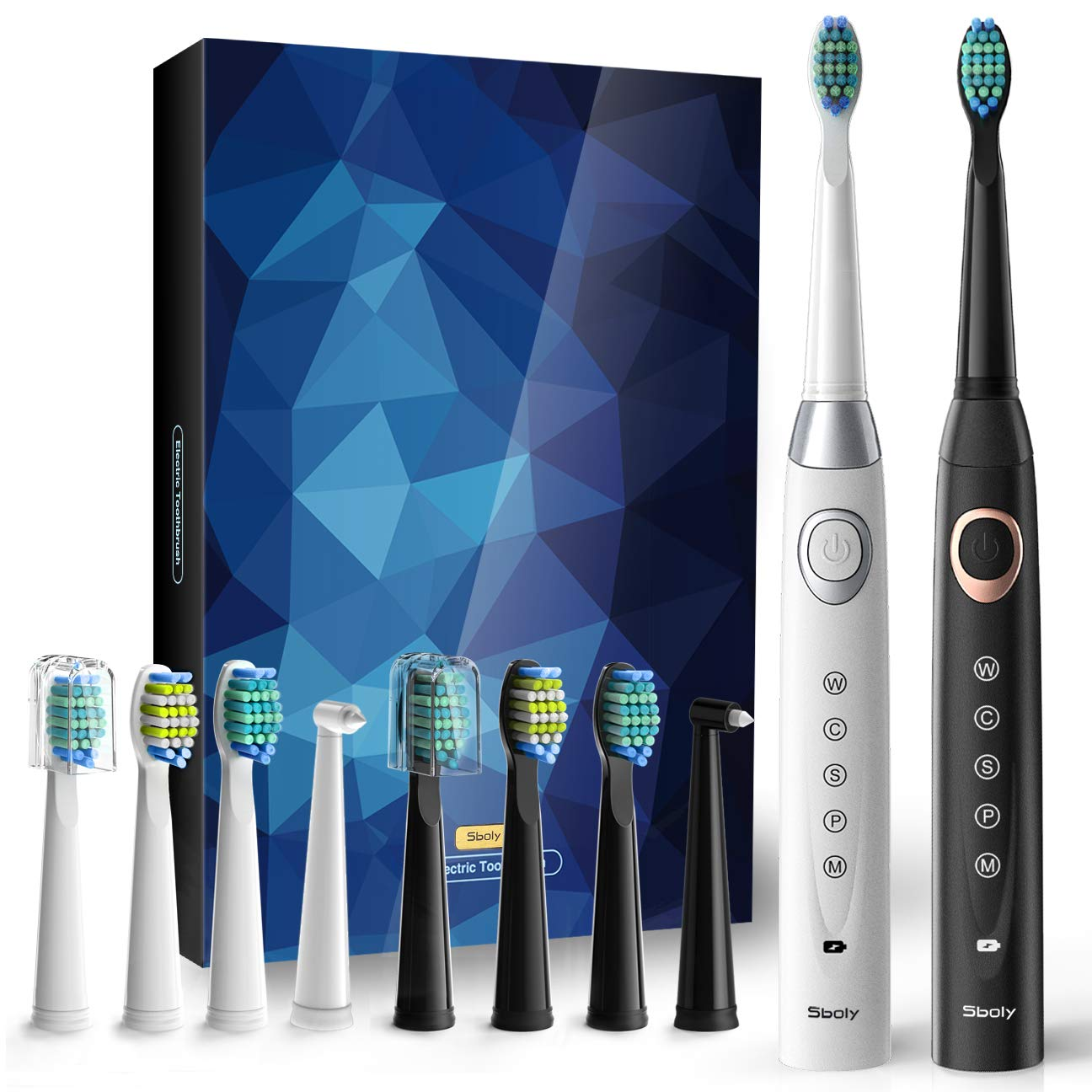 Sboly 2 Sonic Electric Toothbrushes in One Pack USB Rechargeable 5 Modes 8 Brush Heads