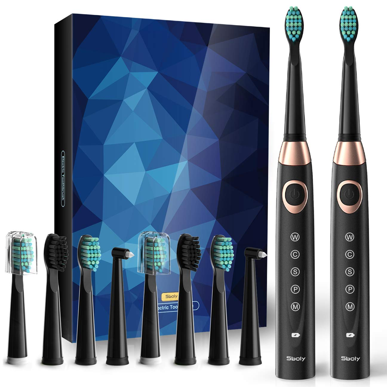 Sboly  SY-508 Two Black Rechargeable Sonic Electric Toothbrushes Fast Charge Powered