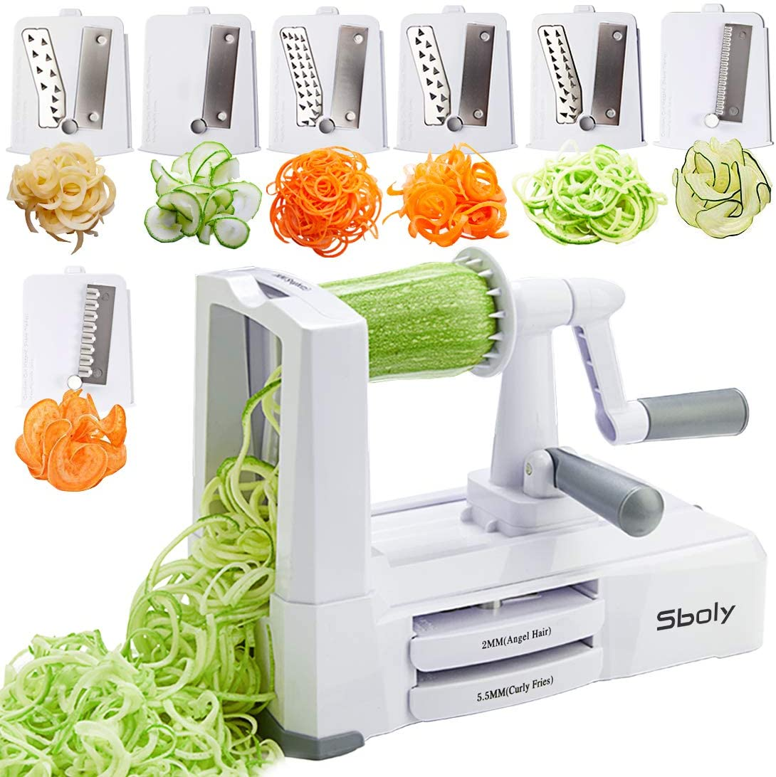 Sboly 7 Blades Vegetable Spiralizer Zucchini Spaghetti And Pasta Maker Mandoline Slicer