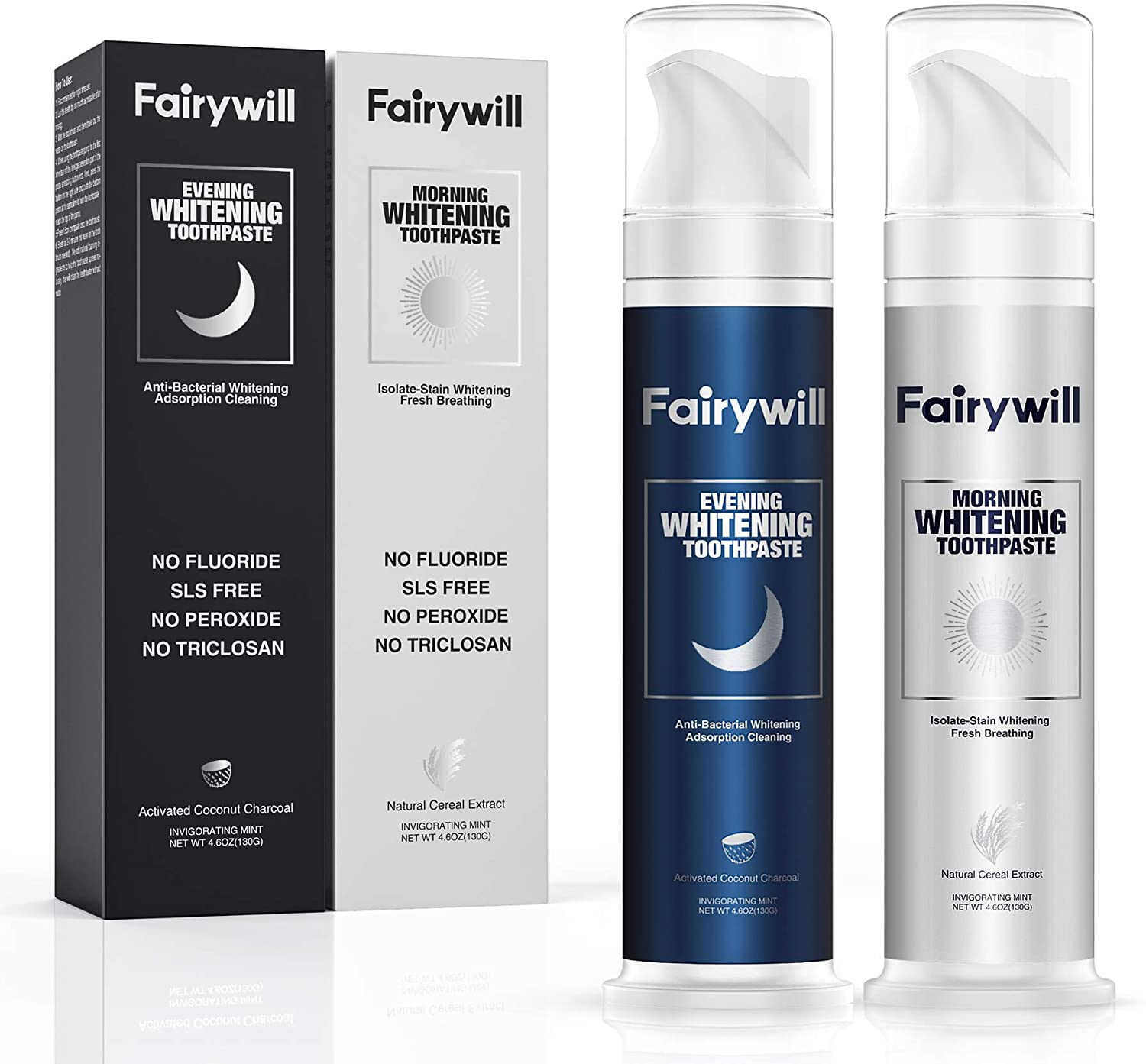 Fairywill Teeth Whitening Natural Toothpaste Sets 2 Pack Nature Organic Teeth Whitener