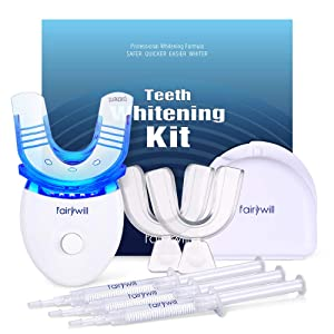 Fairywill Teeth Whitening Kit with Led Light Included 2 Form Fitting Teeth Trays
