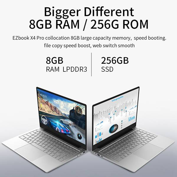 Jumper EZbook X4 Pro Ultraslim Laptop 14-inch FHD Display 256GB SSD Notebook