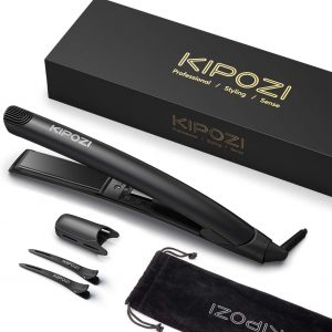 KIPOZI Travel Ceramic Flat Iron for Flipping Hair
