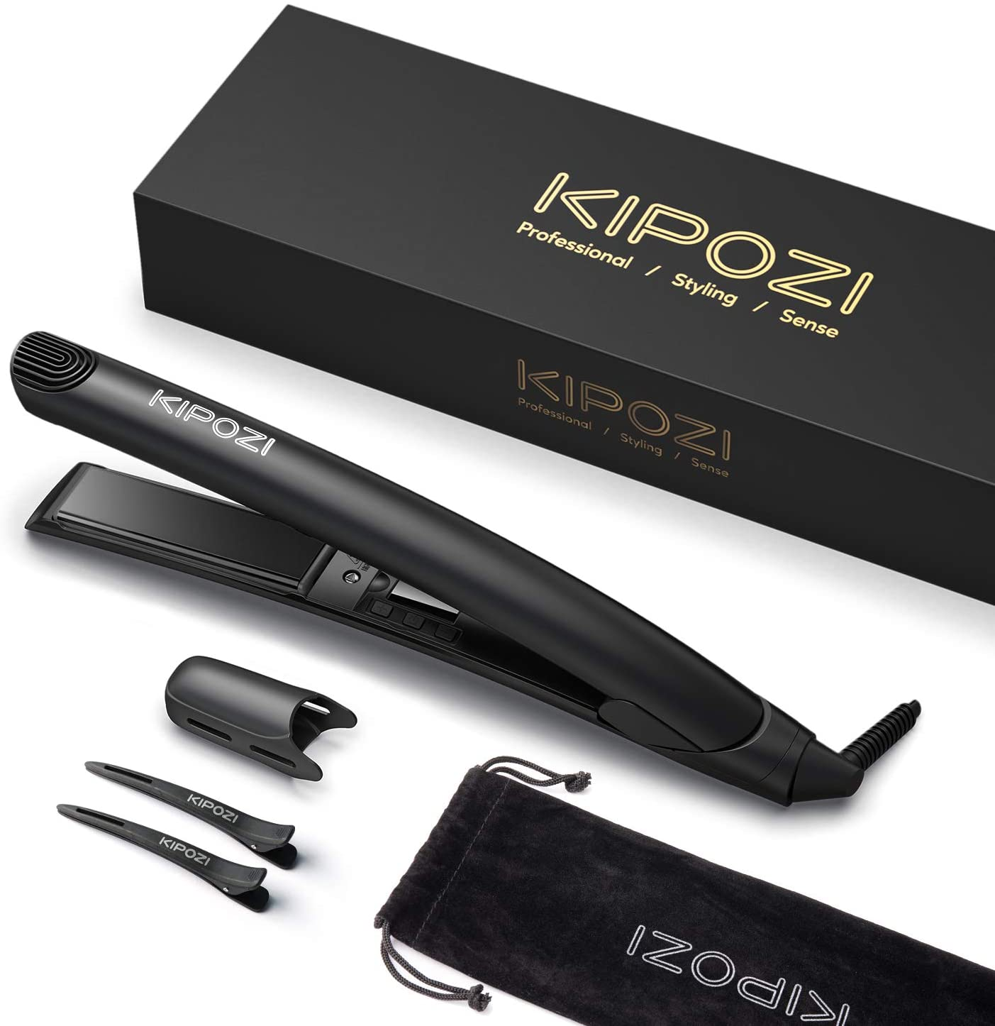 KIPOZI Travel Ceramic Flat Iron for Flipping Hair Ionic 2 in 1 Curler and Hair Straightener