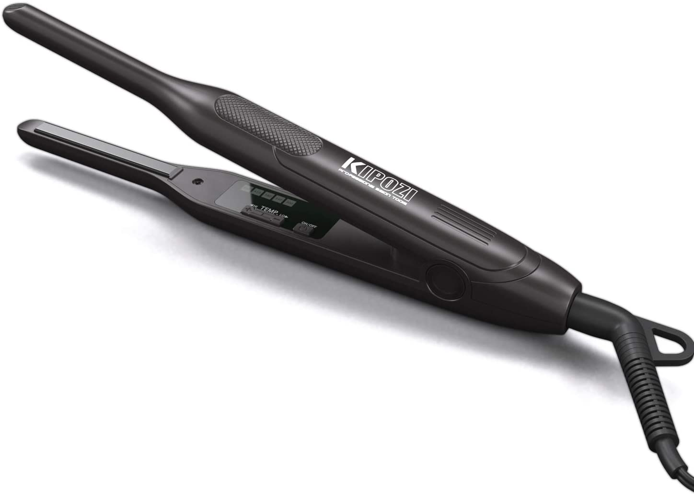KIPOZI Pencil Flat Iron for Short Hair and Pixie Cut 3/10 Inch Beard Hair Straightener