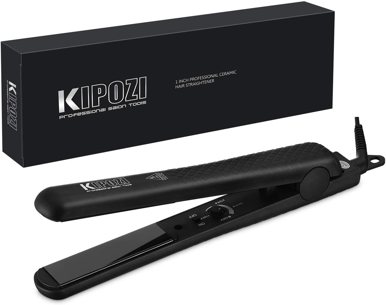 KIPOZI Pro Flat Iron Hair Straightener With Adjustable Temp Straightens & Curls All Hair Types