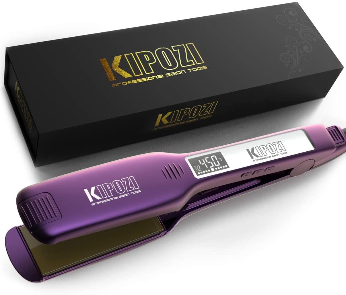 KIPOZI K-139 Professional Hair Straightener 1.75″ Titanium Flat Iron With Digital Display