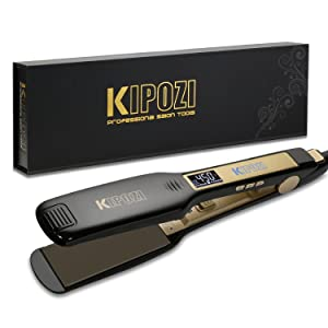 KIPOZI 1.75 Inch Wide Professional Titanium Flat Iron Hair Straightener with Digital Display