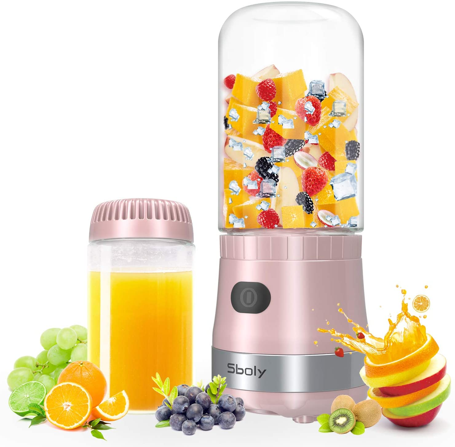 Sboly Portable Mini Blender Pink Color USB Mixer Juice and Smoothies Maker With 12 oz Cups