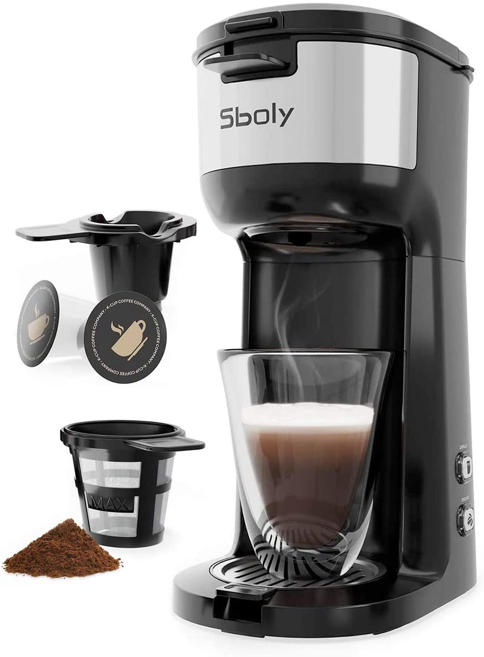 Sboly Instant Coffee Machine Brewer for K-Cup Pod & Ground Coffee with Self Cleaning Function