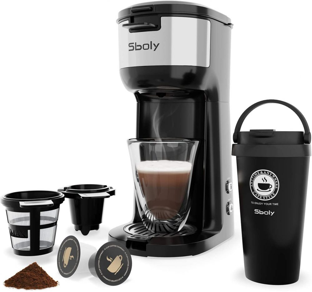 Sboly Single Serve Coffee Maker with Vacuum Insulated Coffee Tumbler With Strength Control