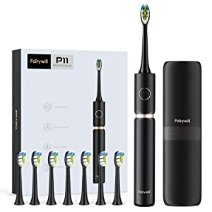 Fairywill Sonic Whitening Rechargeable Electric Toothbrush With 8 Heads And 1 Travel Case