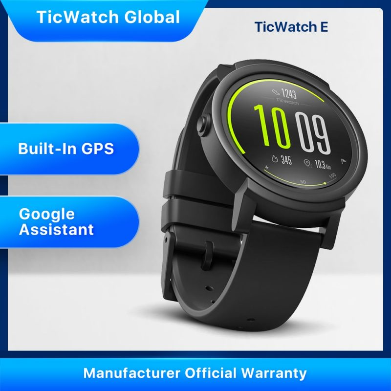 TicWatch E IP67 Waterproof GPS Smartwatch iOS & Android Google Play Sports Watch